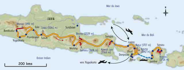 Carte Java Bali Lombok.Volcans D Indonesie